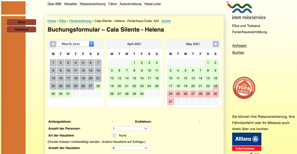 Traumferienwohnung buchen: Bildschirmfoto des Elba Ferienhaus Buchungsformular von IMM Reiseservice