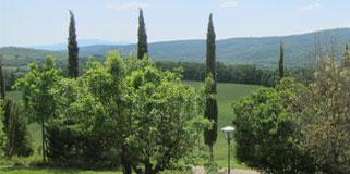 Malerischer Toskana Urlaub in hügeliger Landschaft und Weinbergen